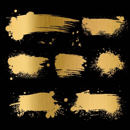 Gold grunge background. Black texture on golden foil paper for luxury glamour premium card vector trendy old paint brush art concept Иллюстрация