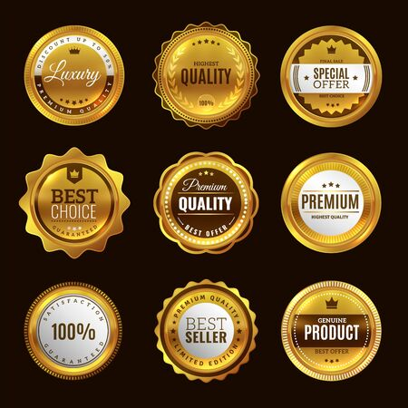 Best certification golden sign. Gold design premium award emblem medals and round labels stamp vector elegant quality guarantee plate badge set