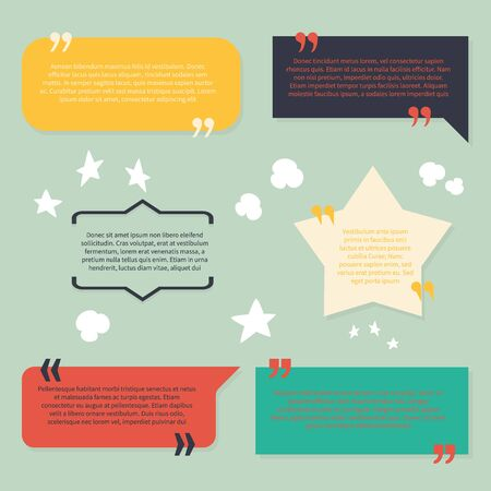 Text and quotes boxes. Design frame elements texting review information with citation quote vector quotation abstract bracket sentence speech symbols set Фото со стока - 133739199