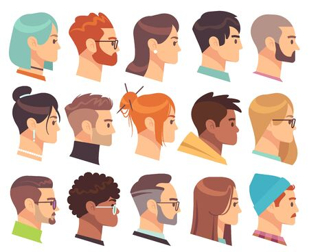 Flat heads in profile. Different human heads, male and female with various hairstyles and accessories. Colorful web avatars vector simple symbol of face character set Фото со стока - 133739203