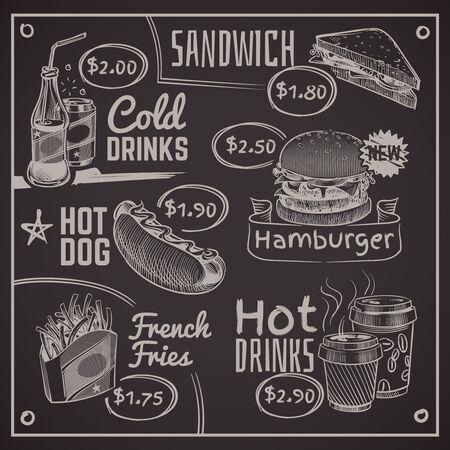 Menú de comida rápida. Café, hamburguesa y perrito caliente, rosquilla y papas fritas, helado y cola, sándwich. Ilustración de diseño de tipografía de pizarra de escritura de vector de restaurante de dibujo de tiza