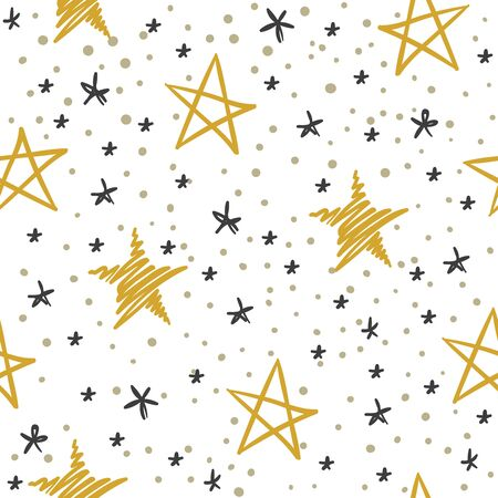 Sketch star seamless pattern. Starry sky with golden and black stars. Christmas and winter holidays vector doodle gold abstract heavenly texture Фото со стока - 133739204