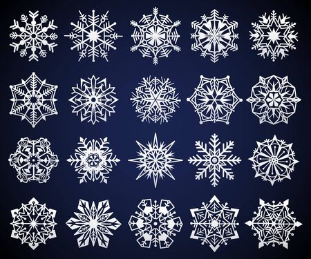 Snowflake. Winter christmas snow crystal elements, frozen cold star pictogram ornament, frosty snowflakes iced symbol, vector cristal festive geometric flake set Иллюстрация