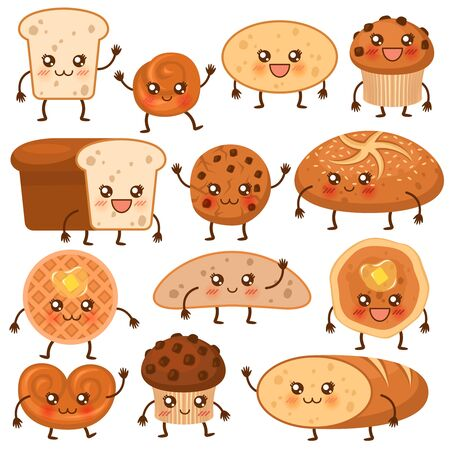Bread characters. Funny bakery food faces icons, emoji cupcakes, pretzel and biscuit, cookie and loaf, fresh muffin cartoon biscuits vector tasty sweets pastry set