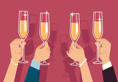 Hands holding champagne glasses. People celebrate corporate christmas party with alcohol drinks anniversary event flat vector banquet gathering celebration concept 写真素材 - 133739207
