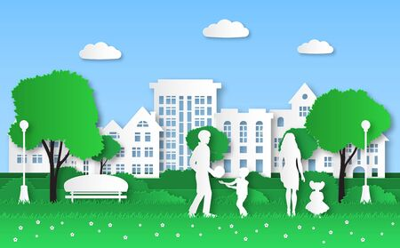 Paper eco city. Family with kids in green natural park, urban ecosystem and natural energy origami, ecological environment vector crafting house ecology protect concept