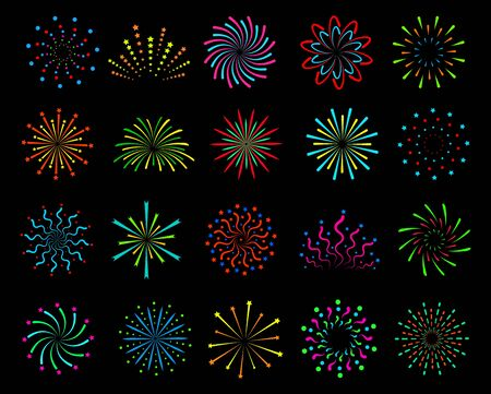 Color fireworks. Festive christmas salute, happy new year pyrotechnic circle explosions with sparks. Outline firecrackers vector party bright festival set Ilustración de vector
