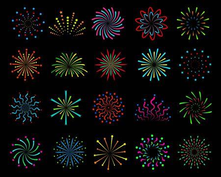 Farbe Feuerwerk. Festlicher Weihnachtsgruß, Frohes neues Jahr pyrotechnische Kreisexplosionen mit Funken. Umriss Böller Vektor Party helles Festival Set Vektorgrafik