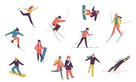 Winter sport people. Including ice skater, snowboarder and skier isolated elements. Winter extreme holidays snowboarding activities vector set