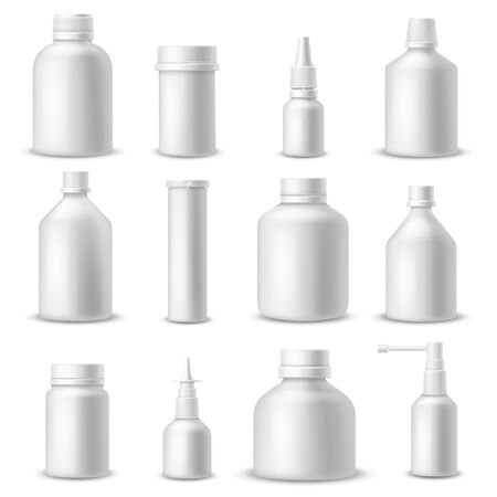 White medical bottles. 3d realistic blank plastic pharmaceutical packaging. Medical and cosmetic containers for spray and pills vector medication package mockup set Vectores