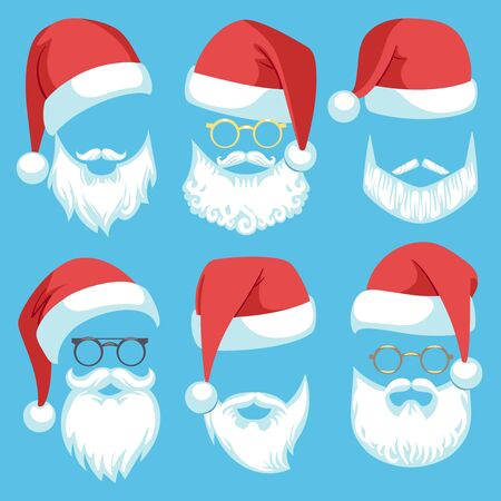 Santa hats and beards. Christmas elements white mustache, beard and glasses, claus red hat, winter holiday clothes cartoon vector bearded man costume set Фото со стока - 133739209