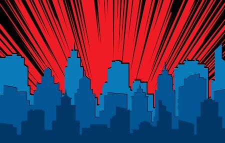 Paysage comique. Silhouette urbaine rétro des bâtiments de la ville pour les bandes dessinées de livres d'art avec des effets de lumière scène vectorielle super héros fond dramatique d'horizon