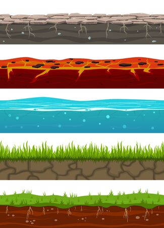 Ground seamless levels. Game earth surfaces with land grass, dried soil, water and ice, lava. Landscape layers seamless vector underground gravel banner design templates 写真素材 - 133739217