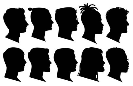 Silhouette man heads in profile. Black face outline avatars, professional male profiles anonymous portraits with hairstyle, vector facing shadow isolated set 写真素材 - 133739219