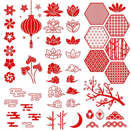 Chinese and japanese new year elements. Festive oriental asian style. Red cloud, flowers and moon, bamboo and sakura, lotus leaves vector traditional decoration pattern collection 写真素材 - 133739220