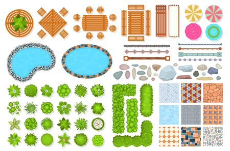 Top view park items. Public furniture outdoor relaxing chair, bench and umbrella. Gardens trees and water pool. Aerial vector landscape designed for map and architecture exterior set Vectores