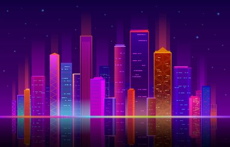 Night city. Building with neon light, future skyline with skyscrapers. Urban abstract landscape, downtown panorama vector cityscape brightness background