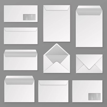 Envelopes. Blank corporate closed and open envelope for a4 letter sheet. Paper postal packages, mail vector isolated realistic business correspondence mockups Illustration