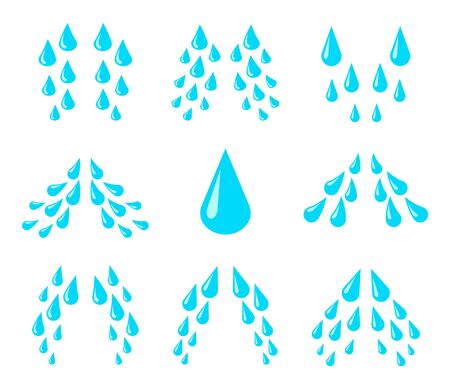 Cartoon tears. Cry, water and sweat drops, eye droplets. Teardrop rain, unhappy crying character emotion isolated vector drip comic set