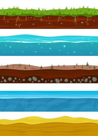 Couches de sol. Surfaces de terrain de jeu avec de l'herbe terrestre, du sable séché du désert, de l'eau et de la glace. Niveaux de paysage nature vectorielle continue mis à la terre