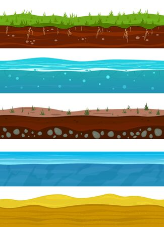 Soil layers. Game ground surfaces with land grass, dried desert sand, water and ice. Landscape levels seamless vector nature grounded set Иллюстрация