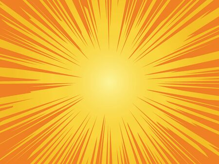 Orange sun background. Sunrise vintage circle shiny design with heating star yellow graphic rays vector starburst pattern 写真素材 - 133739235