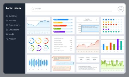 Dashboard. Progress bars, finance analytics data charts with ui. Report diagrams, graphs and interface for web application vector infographics simple statistics mockup