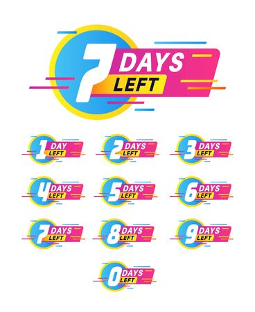 Days to go badges. Product promotion, big deal banner. Limited offer with timer, countdown sale label with day left numbers vector special stamp stickers Stock Illustratie