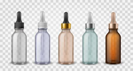 Glass bottles with dropper. 3d realistic cosmetic blank vials for essential oil liquid, collagen serum vector skincare vapor colorful essence mockup