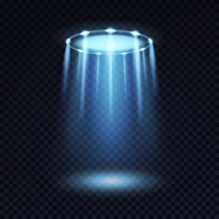Ufo light. Alien spaceship magic bright blue beam. Futuristic spotlight from ufos spacecraft isolated vector effect for sci fi black mystery space concept
