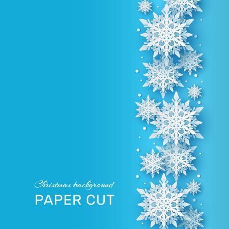 Christmas background. Papercut 3d white snowflake shapes on blue backdrop, winter holiday card. Xmas frozen pattern vector frames decor papercraft concept