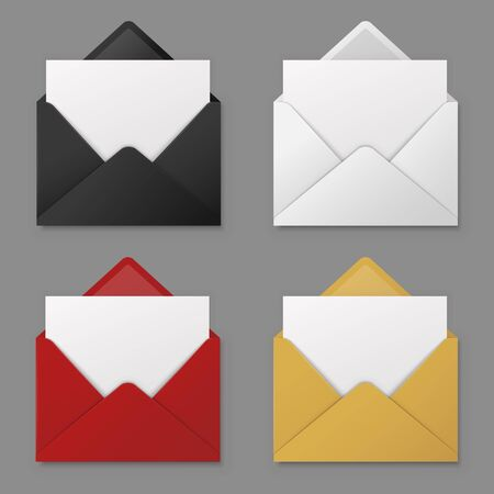 Open envelope. Black, red and white, yellow mail envelopes with blank paper letter sheet. 3d email icons vector isolated mockups office business postcard set