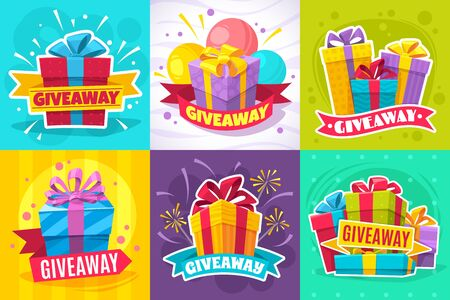 Giveaway post. Give away gift announcement, winner contest reward and christmas prize for social media posts and website vector flyers with square box and ribbon 写真素材 - 133739314