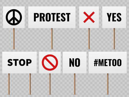 Protest banners. Posters for protester people on political strike. Peace, no war and mee too slogans vector protesting sign concept