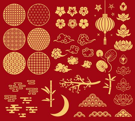 Chinese new year elements. Festive asian ornaments, patterns in oriental style. Clouds, moon and bamboo, sakura and lotus flower vector golden asia decoration set Фото со стока - 133739317