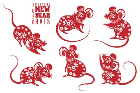 New year 2020 rat. Red rats with asian pattern elements. Chinese astrological holiday symbol for creative zodiacal calendar vector abstract asia astrology mouse set