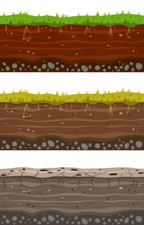 Soil ground layers. Seamless ground, earth drying process. Dirt clay surface texture with stones and grass. Vector landscape layered set Фото со стока - 133739320