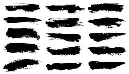 Brosses grunge. Coups de peinture noire, texture de pinceau à encre. Bordures de cadre de dessin grungy tache de pinceau, ensemble de lignes de bannière de formes vectorielles isolées