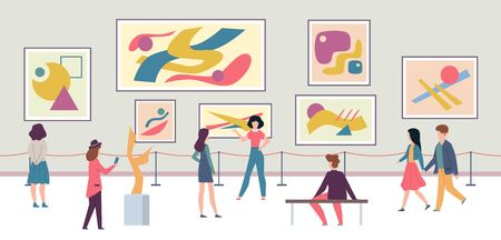 People in gallery. Walking tourists and expo fashion stand with artworks or exhibition abstract paintings vector lifestyle, modern contemporary concept Фото со стока - 133739322
