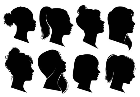 Woman heads in profile. Beautiful female faces profiles, black silhouette outline avatars, anonymous portraits with hairstyle isolated vector elegance fashion set