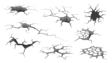 Earthquake crack. Ruined wall, hole in ground with cracking and earth destruction cracks isolated vector cartoon symbols of damage breaks surface set isolated on white Иллюстрация