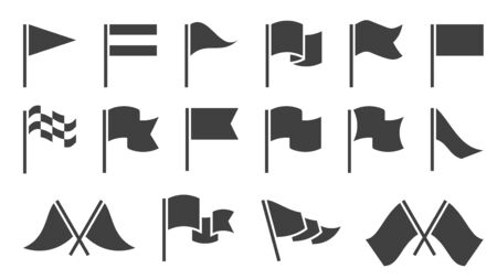 Flag icons. Black silhouette destination flags, pennant with flagpole, banners. Map location markers, start and finish symbols vector gps fluttering marking waving element set 向量圖像