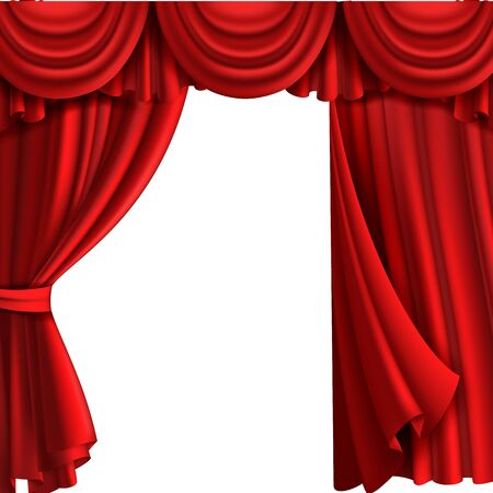 Curtain with drape stage. Theatre fabric red curtains with elegant decor drapes for entertainment vintage victorian styled 3d vector template