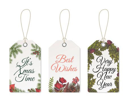 Christmas tags. Xmas cute design for printable template of card celebration labels and gift vector hang, collection paper winter party set