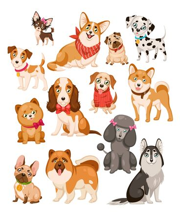 Happy dogs. Cute puppy sitting or standing pets and home funny animals cartoon isolated dog vector set