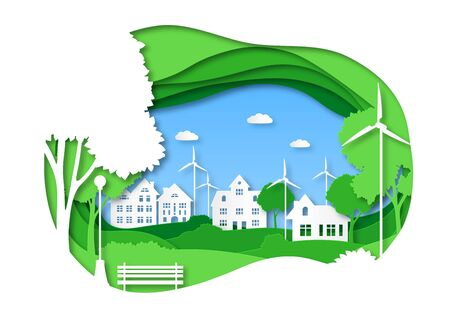 Eco city. Save energy green technology, solar town with alternative energy. Origami cityscape with trees, ecosystem papercut vector creative sustainable concept