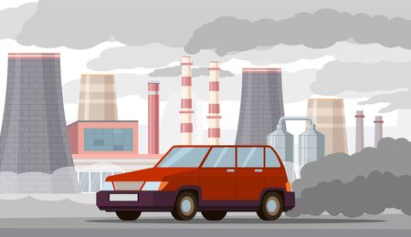 Car air pollution. Co2 emissions by vehicles and industrial factories, city traffic smog. Toxic automobile exhaust problem vector urban ecology concept