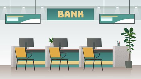 Bank office interior. Big work corporate room with computer and desk or table, empty inside space of building vector banking modern working design