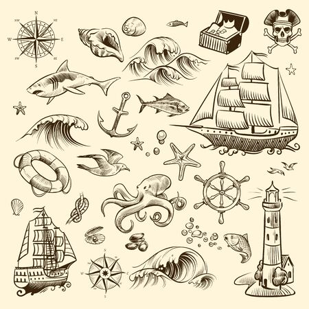 Pirate adventure set. Sea navigation engraved old fantasy objects, ship and treasure of pirates with lighthouse vector shipping sail collection