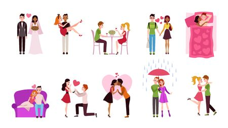 Romantic couples. Young men and women dating, happy loving characters on date hugging and kissing. Married couple with gifts vector holiday romance set